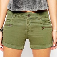 Northmore Denim Cargo Hotpant Shorts With Zip Detail