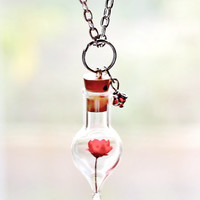 Terrarium Jewelry Red Star Flower Necklace Mini Glass Bottle and Crystal