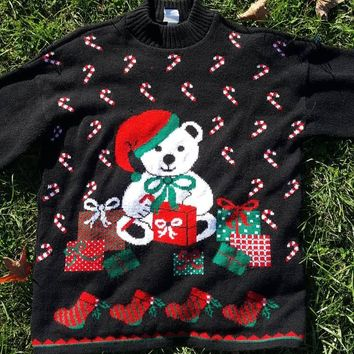 Vtg American Weekend Ugly Christmas Bear Sweater Sz Med Large Tacky Xmas Holiday Party