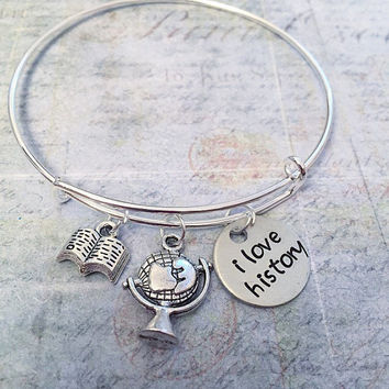 "I Love History Expandable Bracelet FITS WRIST SIZE 7.0"" to 8.5"" - History Teacher Jewelry , Social Studies, History, World History"