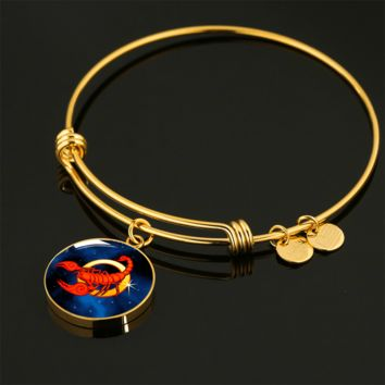 Zodiac Sign Scorpio - 18k Gold Finished Bangle Bracelet