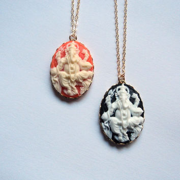Ganesh necklace. Black and white or coral and cream cameo Ganesha pendant charm gold fill chain necklace. Spiritual. Yoga. Metaphysical.