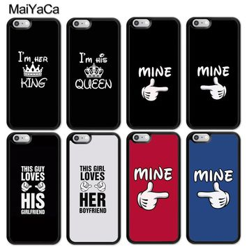 Cool MaiYaCa Funny Lover King Queen Mine His  Soft Rubber Skin Cell Phone Cases Bags For iPhone 6 6S Plus 7 8 Plus X 5S SE Back CoverAT_93_12