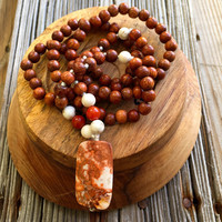 Bohemian Hippie Necklace, Hipster Jewelry, Natural Stone and Wood Necklace, Casual Jewelry, Mala Beads, Yoga Jewelry