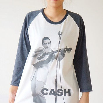 S,M,L -- JOHNNY CASH Shirts Country Rock Shirts Baseball Tee Shirts Jersey Tee Raglan Tee Shirts Long Sleeve Tee Unisex Shirts Women Shirts