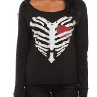 Rib Cage Heart Slash Back Pullover Top | Hot Topic