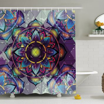 GEOMETRY MANDALA BACKGROUND WITH FUTURISTIC EFFECTS PRINT BATHROOM DECOR SET