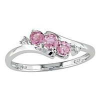 10k White Gold Tourmaline and Diamond 3 Stone Ring (0.018 Cttw, G-H Color, I2-I3 Clarity)