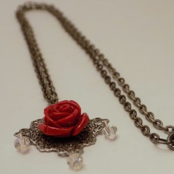 Chain Rose Necklace - Gothic Jewelry - Horror Jewelry - Rose Jewelry - Halloween Necklace - Swarovski Jewelry - Day of the Dead Jewelry