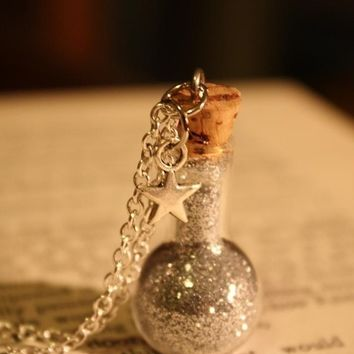 ON SALE Star Dust Vial Necklace