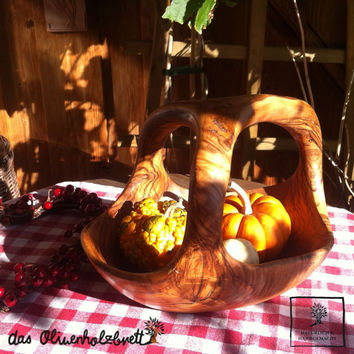 """Wooden rustic fruit bowl, natural shape, with handle, Thanksgiving bowl basket, length 9"""""""