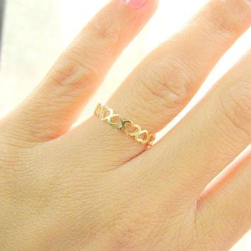 CHRISTMAS SALE - Gold ring - Thin band ring, Band ring gold, Heart band ring, 14k gold filled ring, Size 8.5 US