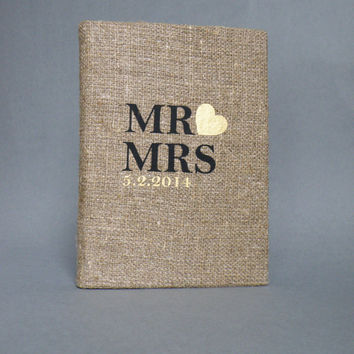 Wedding rustic guest book burlap Linen Wedding guest book Bridal shower engagement anniversary Mr and Mrs text and Gold heart