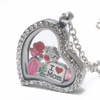 Floating Charm Crystal Heart Pendant Locket Necklace