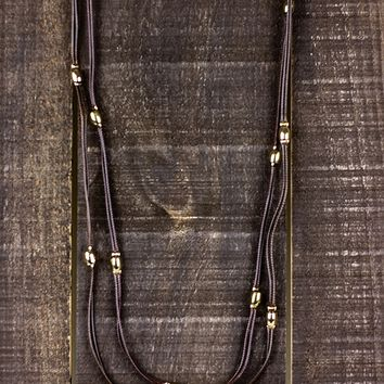 Multi Strand with Stationed Beads Necklace - Brown