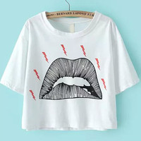 White Short Sleeve Lip Print Cropped Graphic T-Shirt