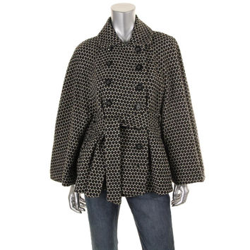Catherine Malandrino Womens Wool Double Breasted Cape Coat