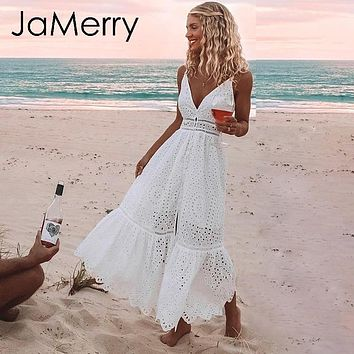 JaMerry Boho embroidery white sexy lace women summer maxi dress Spaghetti strap cotton dresses Holiday party long vestidos 2019