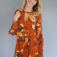 Rust Flower Dress