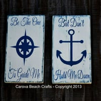 Anchor Decor, Two Wood Signs, Nautical, Beach Decor, Coastal, Be The One To Guide Me, Hand Painted, Compass, Sea, Ocean