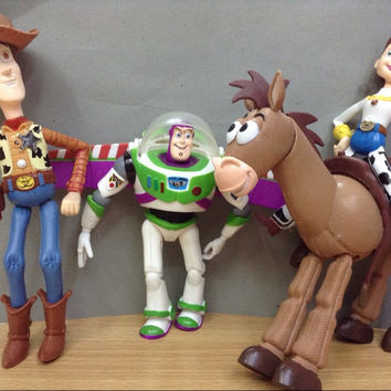 4pcs/set Anime Toy Story 3 Buzz Lightyear Woody Jessie Bullseye PVC Action Figure Collectible Model Toy Kids Gifts hwd