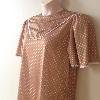 Vintage Polka dot Tan Day Dress with white Lace Edging Brown summer frock Pluse Size Women