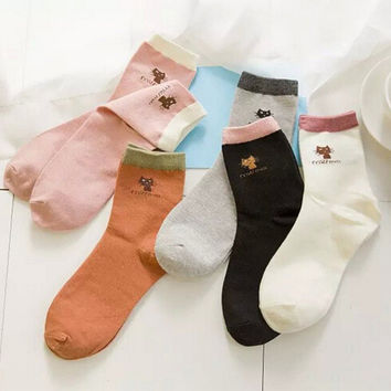 Winter Ladies Cotton Cartoons Korean Socks [9259039044]