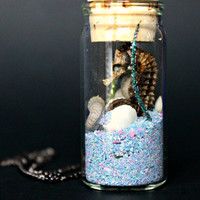 Seahorse In a Jar Necklace, blue sand, shells - Jewelry // Blue Moon