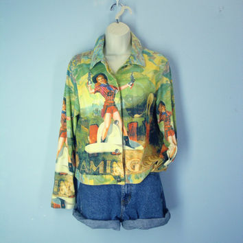80s Cowgirl Jacket, Annie Oakley Shirt Blouse, Polysuede Jacket, Vintage Novelty Fun Western Jacket, Medium, Pinup Girl