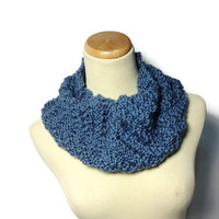 Country Blue Hand Knit Cowl Circular Scarf