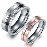 "Geminis Jewelry Black&rose Gold ""You Are/i Am My/your Only Love"" W/Zircon Stainless Steel Couple Ring(With Free Gift Box)"