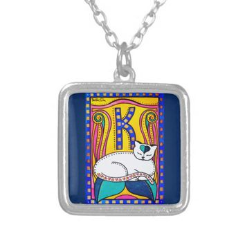 Peace And Love Valentine Cat Design Silver Plated Necklace