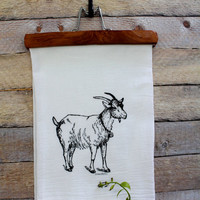 Goat Kitchen Towel - Goat Tea Towel - Goat Hand Towel - Flour Sack Towel - Cotton Kitchen Towel