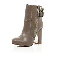 River Island Womens Taupe leather metal block heel ankle boots