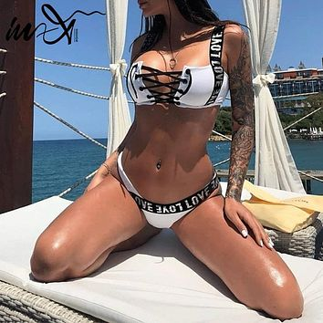 In-X Sexy Brazilian bikini sets 2019 Push up sports swimwear women Lace up thong swimsuit female Bandeau bathing suit beach wear