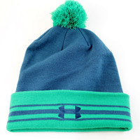 Under Armour Men's Pom Cuff Performance Dark Blue/Green Beanie Hat