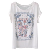 Zeagoo Womens Summer Elephant Print Round Collar Short Sleeve T-Shirt White