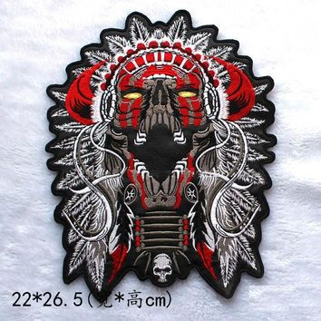 large Embroidery Patches for Jacket Back Motorcycle Biker Skull Indian Chief PU leather 22*26.5CM