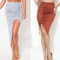 New Summer Autumn Women Lace Up Wraps High Waist Skirt Fashion Ladies Plain Stretchy Bodycon Package Hip Irregular Pencil Skirts