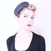 1950s Vintage Hat / 50s Pillbox Hat / Purple / Black and blue knit / Netted trim