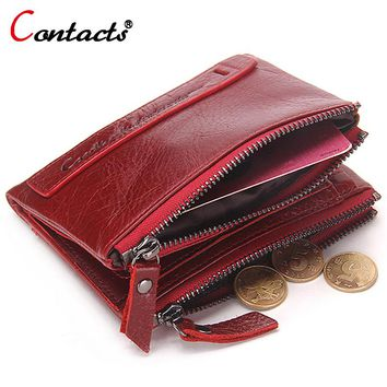 CONTACT'S Genuine Leather Women Wallet Female Purse Men Wallet Small Zipper Coin Purse Leather Red Credit Card Holder Money Bag