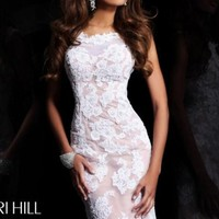 Cap Sleeved Open Back Gown by Sherri Hill