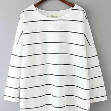 White Striped Oversized Blouse