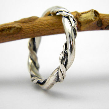 Braided band ring solid sterling silver twisted thick  rope stacking ring