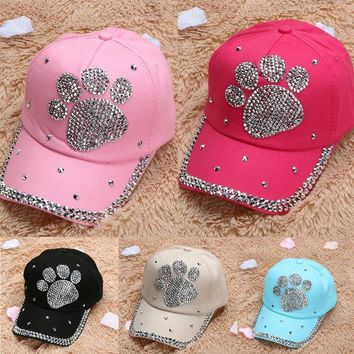 DCCKWJ7 2017 Summer Palm Crystal Decor Baseball Cap snapback Fashion pokemon casquette New Bear Nylon Adjustable Hat Cap for Women
