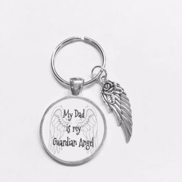 My Dad Is My Guardian Angel Wing In Memory Remembrance Keychain