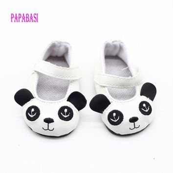 18 inch 45CM American Girls Dolls Cute Panda Leather Shoes For Alexander Doll Accessory Baby Born Doll Mini Toys shoes