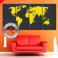Travel Map, World Map, World Map Canvas, Wall Art Travel Map, World Map, Canvas World Map, large canvas, wall decor paintings