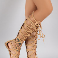 Qupid Strappy Cage Lace Up Gladiator Flat Sandal