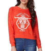 Billabong Rebel Gypsy Skull Crew Fleece - Womens Hoodie - Red